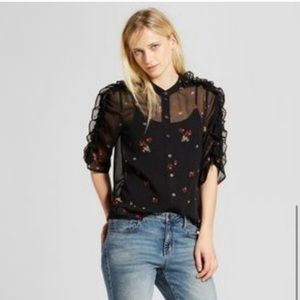 Who What Wear Sheer Floral Ruffle Sleeve Blouse M